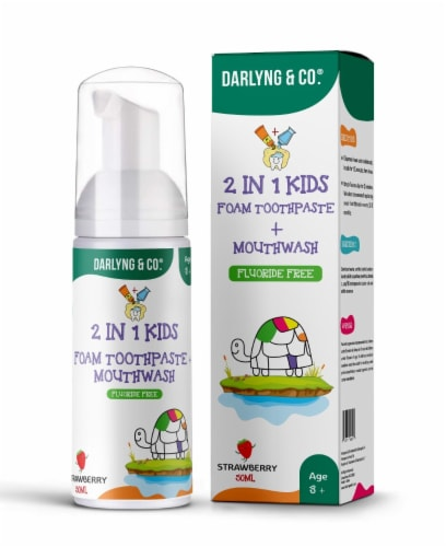 2-in-1 Kids Foam Toothpaste + Mouthwash (Strawberry) Perspective: front