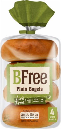 BFree Wheat & Gluten Free Plain White Bagels Perspective: front