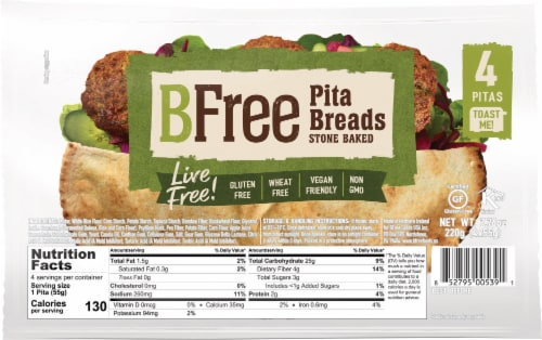 BFree Wheat & Gluten Free Stone Baked Pita Breads Perspective: front