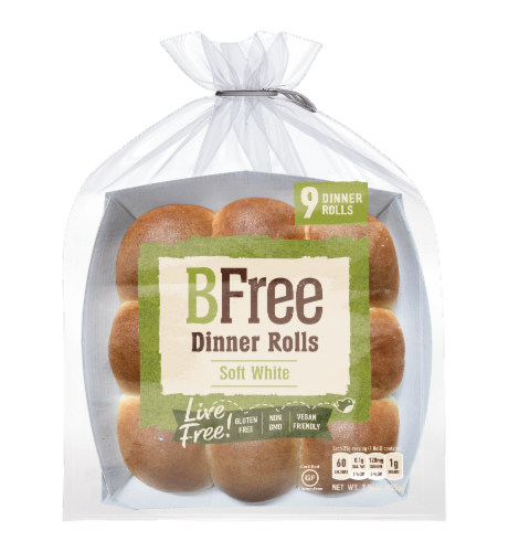 BFree Soft White Dinner Rolls 9 Count Perspective: front
