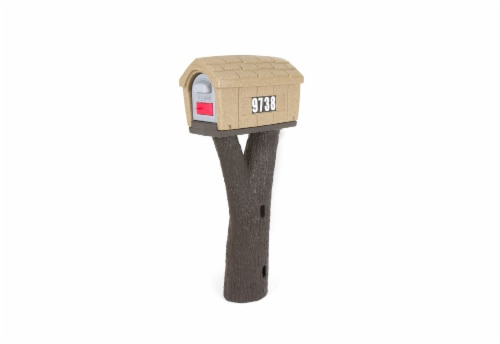 Simplay3 Rustic Home Mailbox - Sandstone/Espresso Perspective: front
