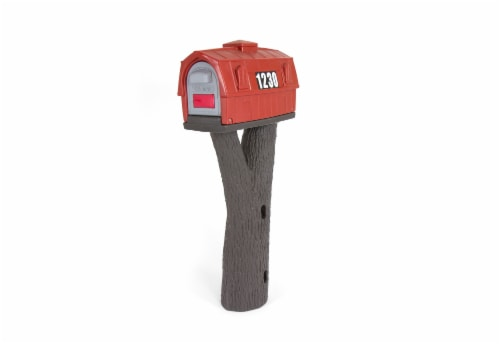 Simplay3 Rustic Barn Mailbox  - Burnt Red/Espresso Perspective: front