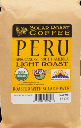 Solar Roast Coffee Peru Light Roast Coffee Perspective: front