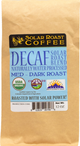 Solar Roast Coffee Decaf Coffee Perspective: front