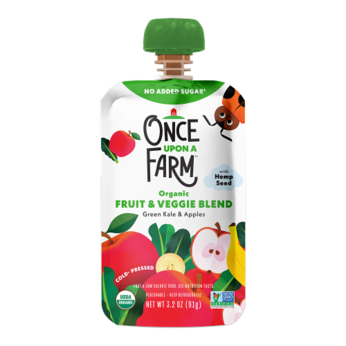 Once Upon A Farm Organic Green Kale & Apples Fruit & Veggie Blend Perspective: front