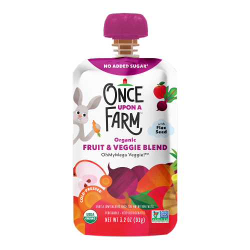 Once Upon A Farm Organic OhMyMega Veggie! Fruit & Veggie Blend Perspective: front