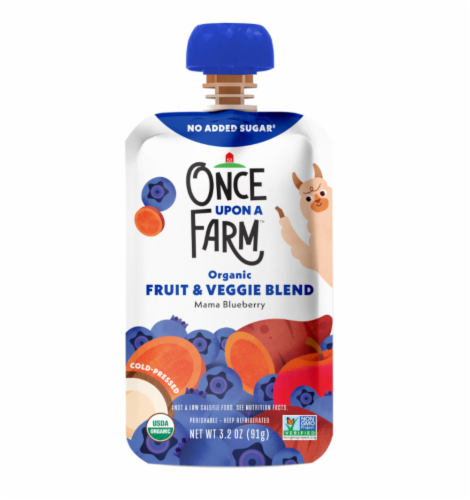 Once Upon a Farm Organic Mama Bear Blueberry Fruit & Veggie Blend Perspective: front