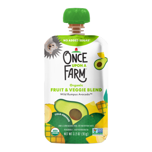 Once Upon a Farm Organic Wild Rumpus Avocado Fruit & Veggie Blend Perspective: front