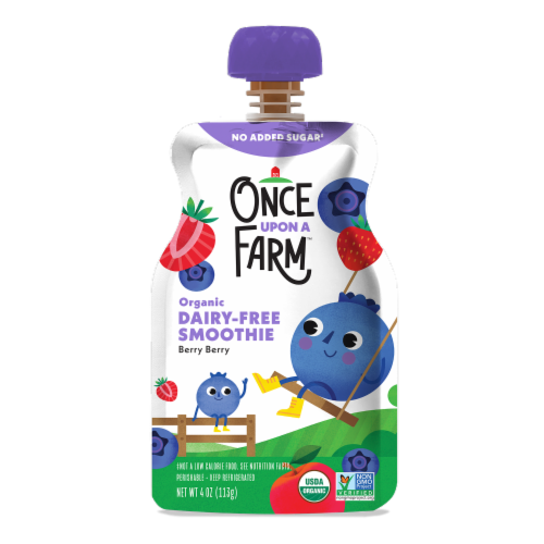 Once Upon A Farm Organic Berry Berry Kids Dairy-Free Smoothie Perspective: front