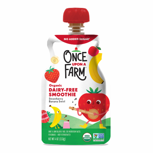 Once Upon a Farm Organic Dairy-Free Strawberry Banana Swirl Kids Smoothie Perspective: front