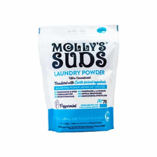 Molly's Suds Peppermint Laundry Powder Perspective: front