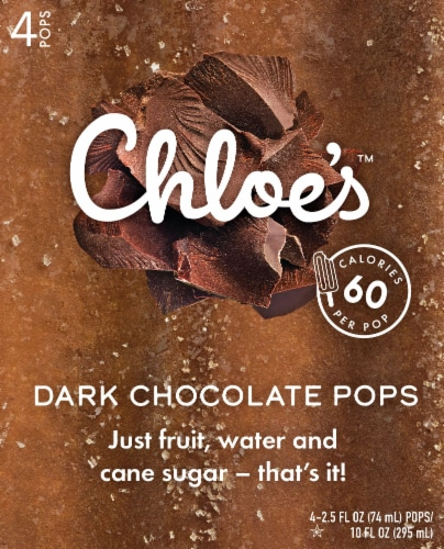 Chloe's Dark Chocolate Pops 4 Count Perspective: front