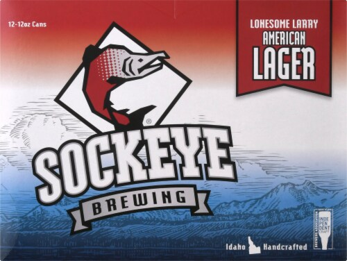 Sockeye Brewing Lonesome Larry Lager Beer Perspective: front