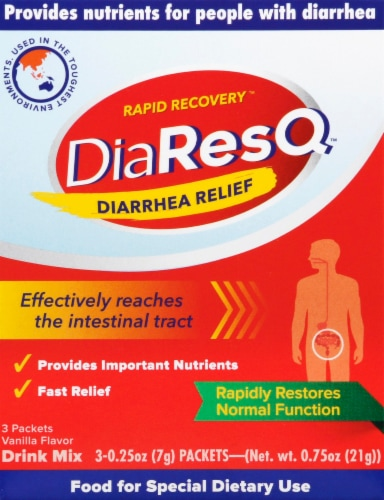 DiaResQ Vanilla Flavor Rapid Recovery Diarrhea Relief Drink Mix Packets Perspective: front