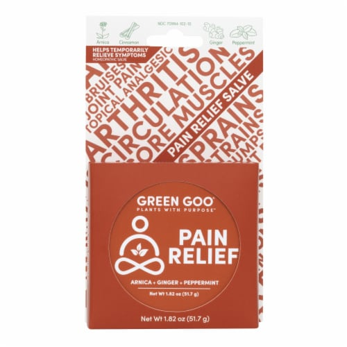 Green Goo Natural Pain Relief Large Salve Tin Perspective: front
