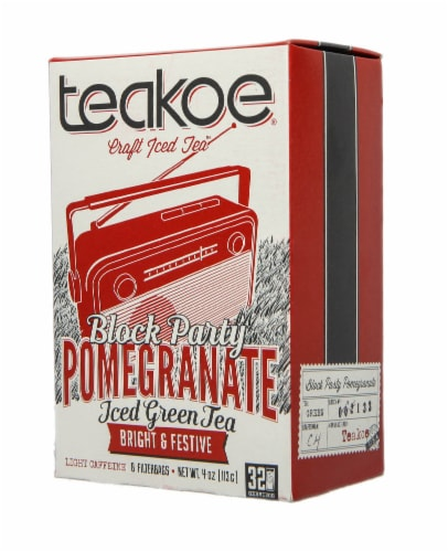 Teakoe Pomegranate Iced Green Tea Perspective: front