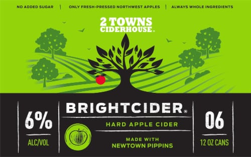 2 Towns Ciderhouse Brightcider Hard Apple Cider Perspective: front
