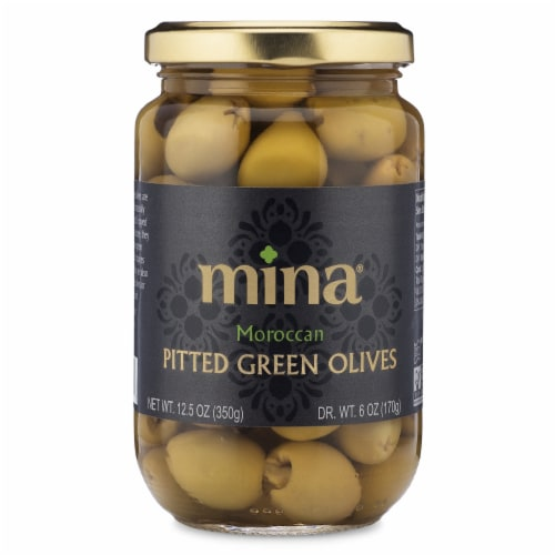Mina Moroccan Pitted Green Olives Perspective: front