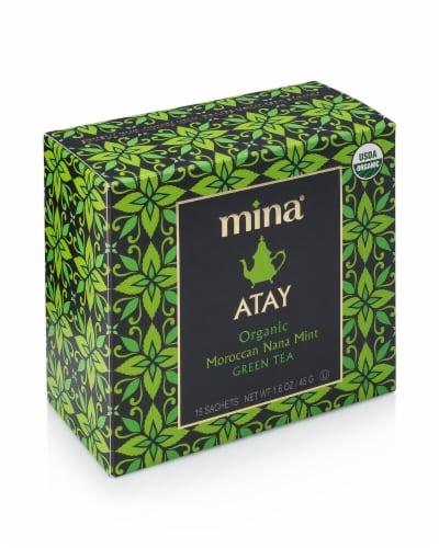 Mina Atay Organic Moroccan Nana Mint Green Tea Sachets Perspective: front