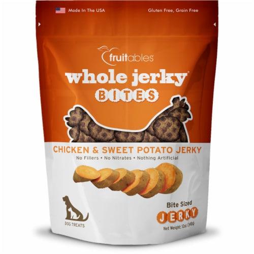 Fruitables Whole Jerky Bites Chicken & Sweet Potato Jerky Dog Treats Perspective: front