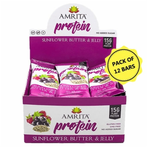 Amrita Sunflower Butter & Jelly Protein Bars Perspective: front