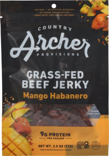 Country Archer Mango Habanero Beef Jerky Perspective: front