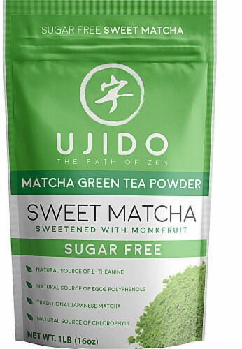 Ujido Sweet Matcha Green Tea Powder Sweetened with Monkfruit Perspective: front