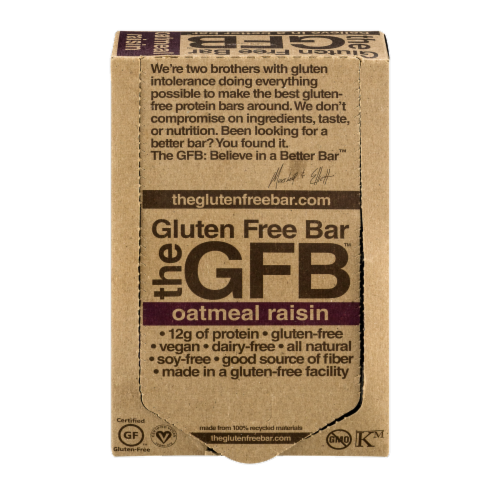 the GFB Oatmeal Raisin Gluten Free Bar Perspective: front