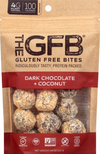 the GFB Dark Chocolate + Coconut Gluten Free Bites Perspective: front