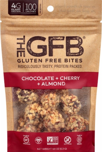 the GFB Chocolate + Cherry + Almond Gluten Free Bites Perspective: front