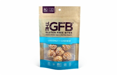 the GFB Gluten Free Bites Coconut Cashew Crunch Snack Perspective: front