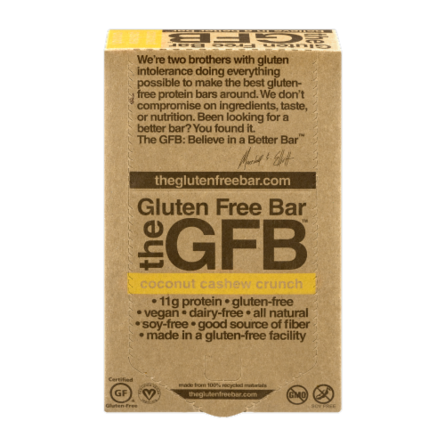 the GFB Coconut Cashew Crunch Gluten Free Bar Perspective: front
