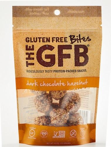 The Gluten Free Bar  Dark Chocolate Hazelnut Bites Perspective: front