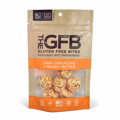 the GFB Gluten Free Dark Chocolate Peanut Butter Bites Perspective: front