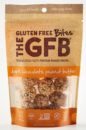 The Gluten Free Bar  Dark Chocolate Peanut Butter Bites Perspective: front
