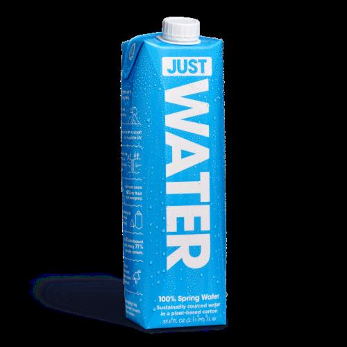 JUST Water, Bottled Alkaline 100% Spring Water, 12 Pack (1L | 33.8 fl oz) Perspective: front
