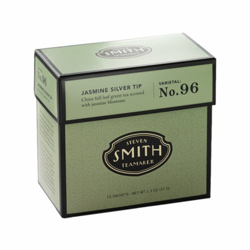 Steven Smith Teamaker Jasmine Silver Tip Green Tea Sachets Perspective: front