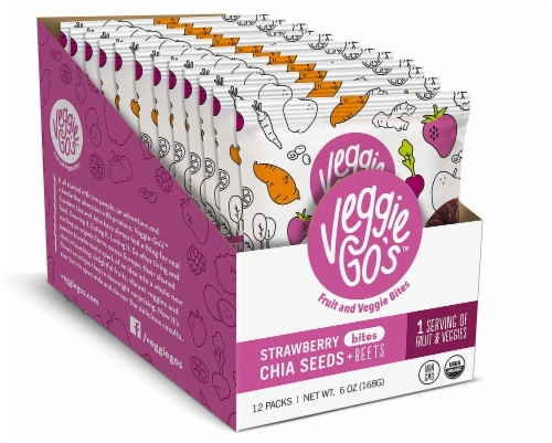Veggie-Go's Organic Strawberry Chia Seeds & Beets Fruit and Veggie Bites Perspective: front