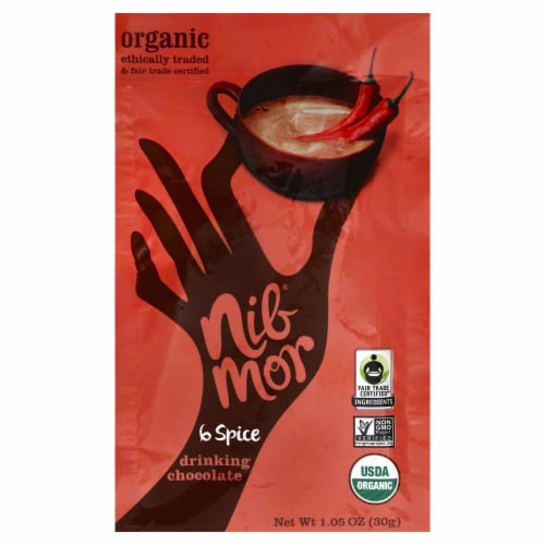 NibMor Organic 6 Spice Drinking Chocolate Perspective: front