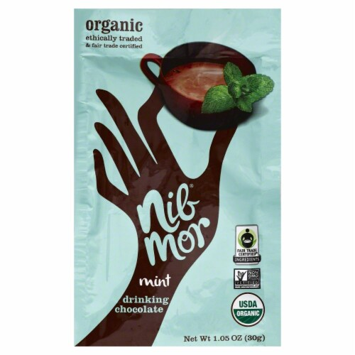 NibMor Organic Mint Drinking Chocolate Perspective: front