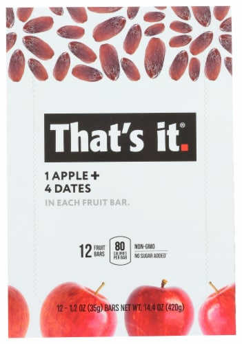 That's It Apple + Date Fruit Bars Perspective: front