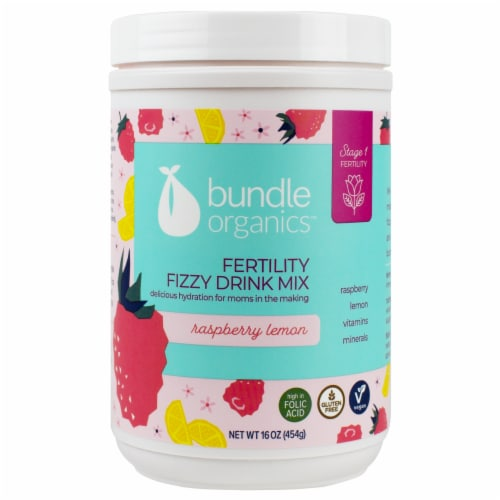 Bundle Organics Stage 1 Fertility Raspberry Lemon Fertility Fizzy Drink Mix Perspective: front