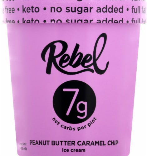 Rebel Peanut Butter Caramel Chip Ice Cream Perspective: front