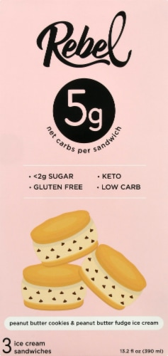 Rebel Double Peanut Butter Fudge Ice Cream Sandwiches Perspective: front