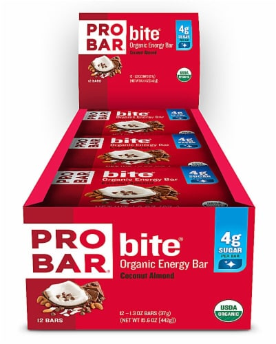 Pro Bar Bite Coconut Almond Organic Energy Bars Perspective: front