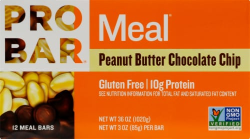 ProBar Meal Peanut Butter Chocolate Chip Bars Perspective: front