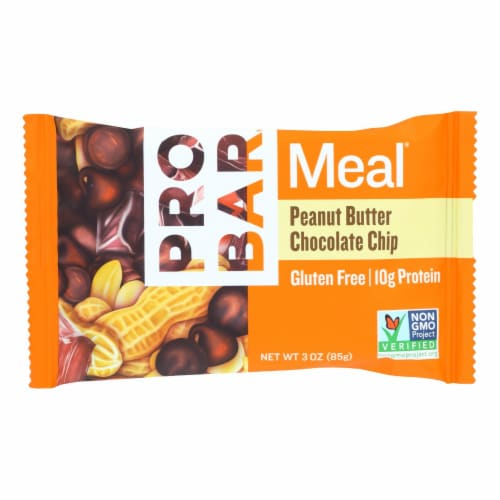 PROBAR Gluten-Free Peanut Butter Chocolate Chip Meal Bar Perspective: front