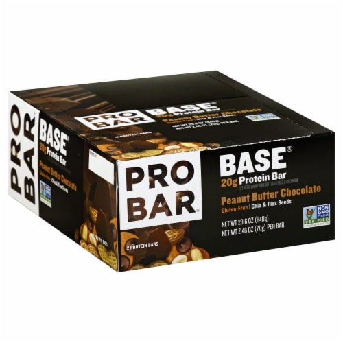 Pro Bar Base Peanut Butter Chocolate Protein Bars Perspective: front
