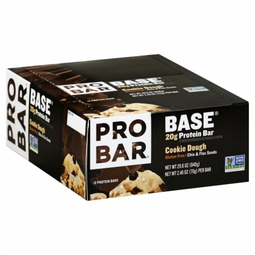 Pro Bar Base Cookie Dough Protein Bars 12 Count Perspective: front