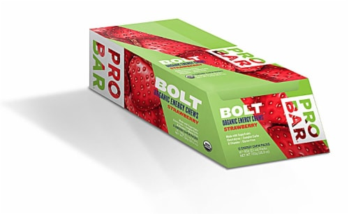 ProBar  Bolt Organic Energy Chews Gluten Free   Strawberry Perspective: front